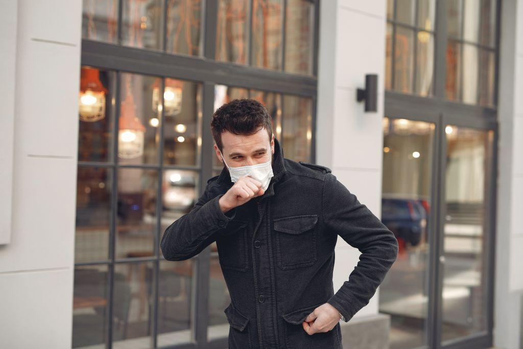 Kašalj, astma, disanje, maska, muškarac, prehlada
